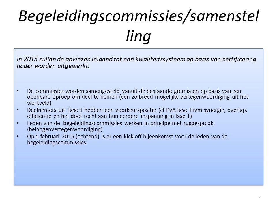 Begeleidingscommissies/samenstel ling In 2015 zullen de adviezen en besluiten leidend tot een kwaliteitssysteem op basis van certificering nader worden uitgewerkt.