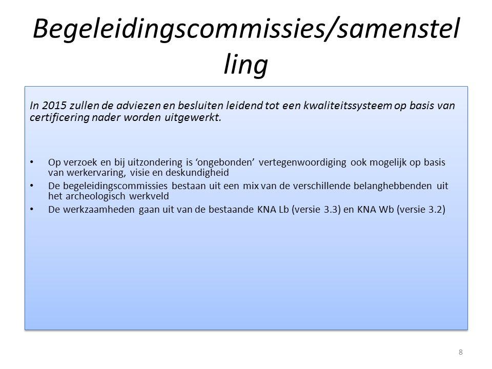 Begeleidingscommissies/samenstel ling In 2015 zullen de adviezen en besluiten leidend tot een kwaliteitssysteem op basis van certificering nader worde