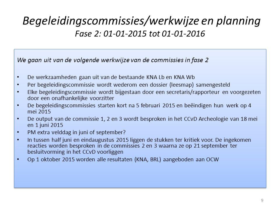 Begeleidingscommissies/werkwijze en planning Fase 2: 01-01-2015 tot 01-01-2016 We gaan uit van de volgende werkwijze van de commissies in fase 2 De we