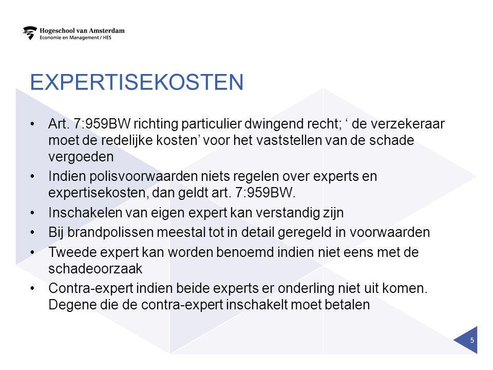 EXPERTISEKOSTEN Art. 7:959BW richting particulier dwingend recht; ' de verzekeraar moet de redelijke kosten' voor het vaststellen van de schade vergoe