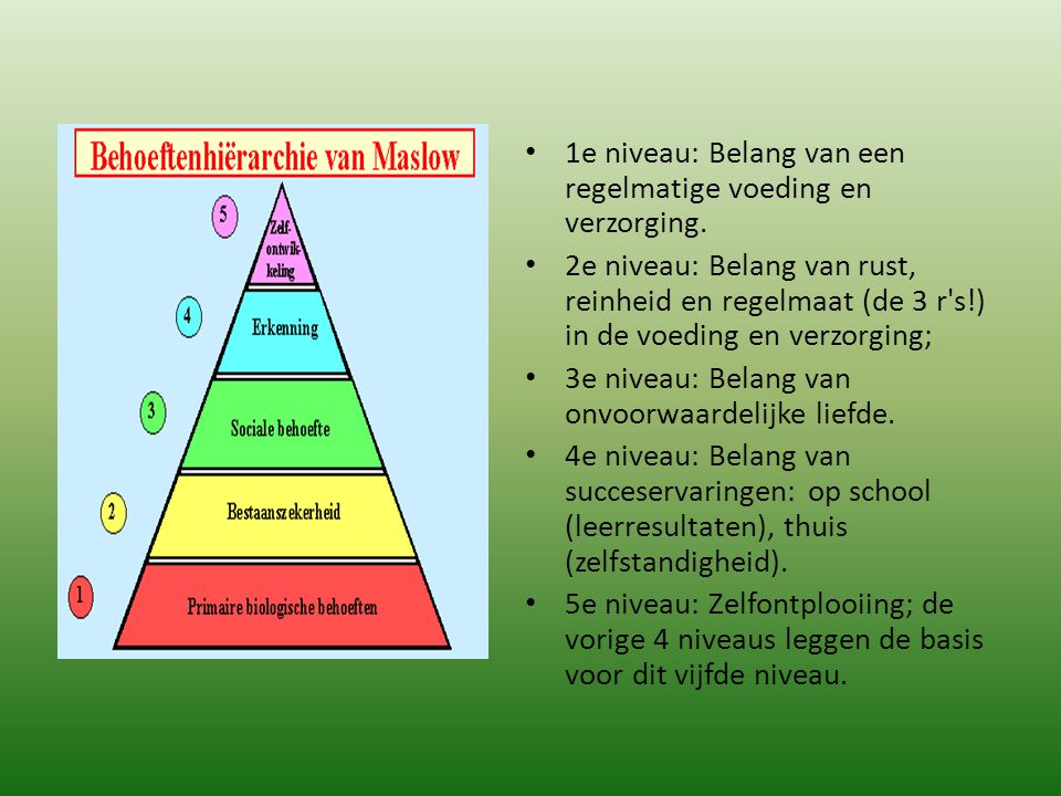 1e niveau: Belang van een regelmatige voeding en verzorging. 2e niveau: Belang van rust, reinheid en regelmaat (de 3 r's!) in de voeding en verzorging