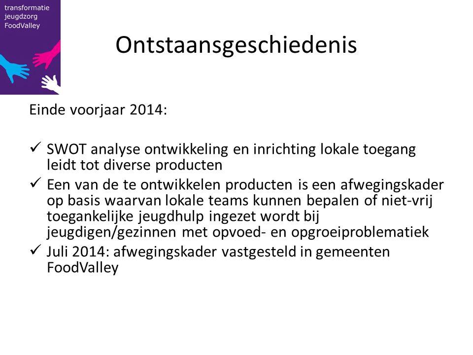 Ontstaansgeschiedenis Einde voorjaar 2014: SWOT analyse ontwikkeling en inrichting lokale toegang leidt tot diverse producten Een van de te ontwikkele