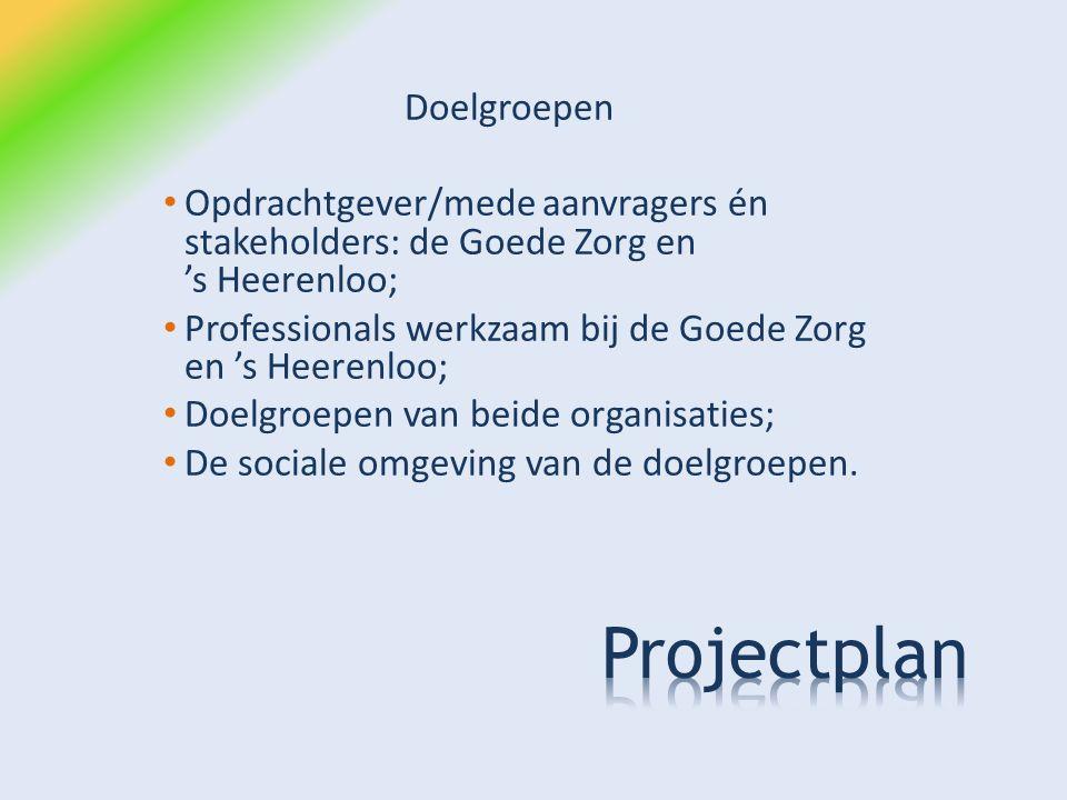 Doelgroepen Opdrachtgever/mede aanvragers én stakeholders: de Goede Zorg en 's Heerenloo; Professionals werkzaam bij de Goede Zorg en 's Heerenloo; Doelgroepen van beide organisaties; De sociale omgeving van de doelgroepen.