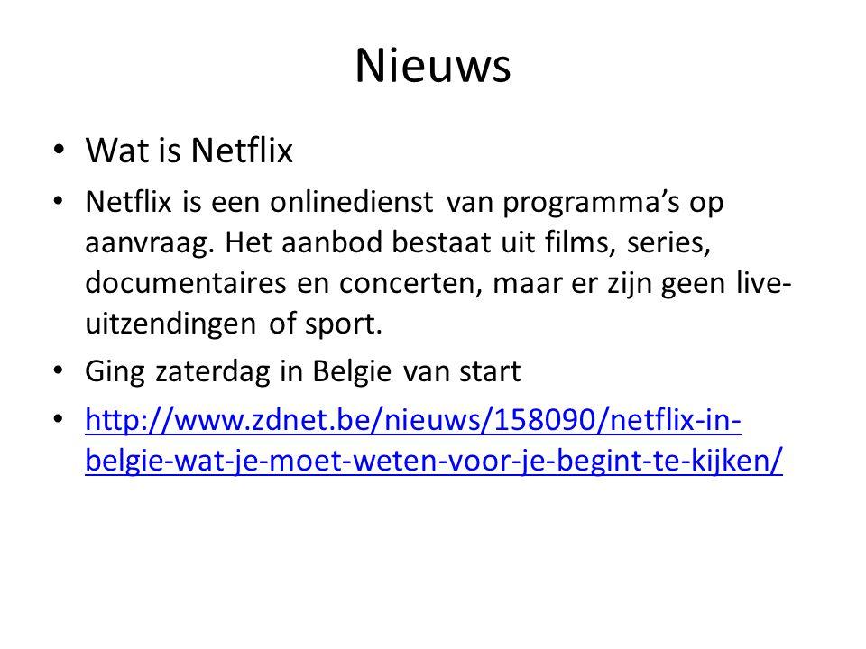 Nieuws Wat is Netflix Netflix is een onlinedienst van programma's op aanvraag. Het aanbod bestaat uit films, series, documentaires en concerten, maar
