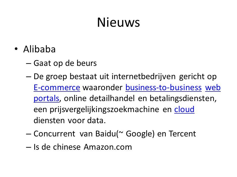 Nieuws Alibaba – Gaat op de beurs – De groep bestaat uit internetbedrijven gericht op E-commerce waaronder business-to-business web portals, online detailhandel en betalingsdiensten, een prijsvergelijkingszoekmachine en cloud diensten voor data.