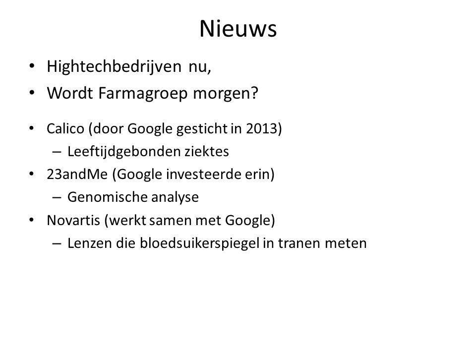 Nieuws Hightechbedrijven nu, Wordt Farmagroep morgen? Calico (door Google gesticht in 2013) – Leeftijdgebonden ziektes 23andMe (Google investeerde eri
