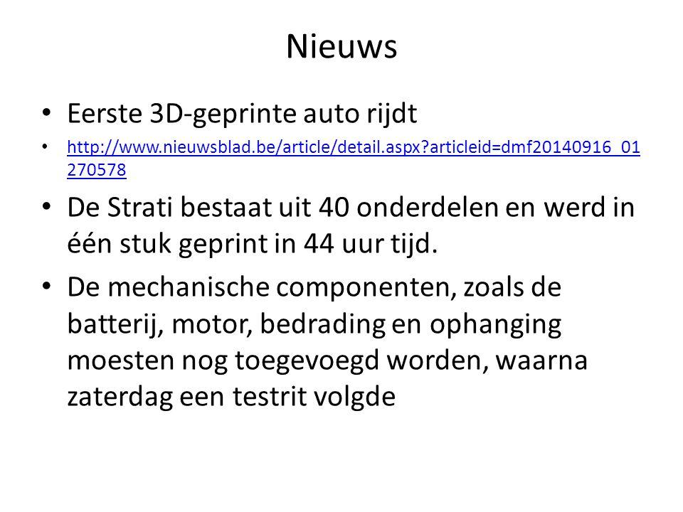 Nieuws Eerste 3D-geprinte auto rijdt http://www.nieuwsblad.be/article/detail.aspx?articleid=dmf20140916_01 270578 http://www.nieuwsblad.be/article/detail.aspx?articleid=dmf20140916_01 270578 De Strati bestaat uit 40 onderdelen en werd in één stuk geprint in 44 uur tijd.