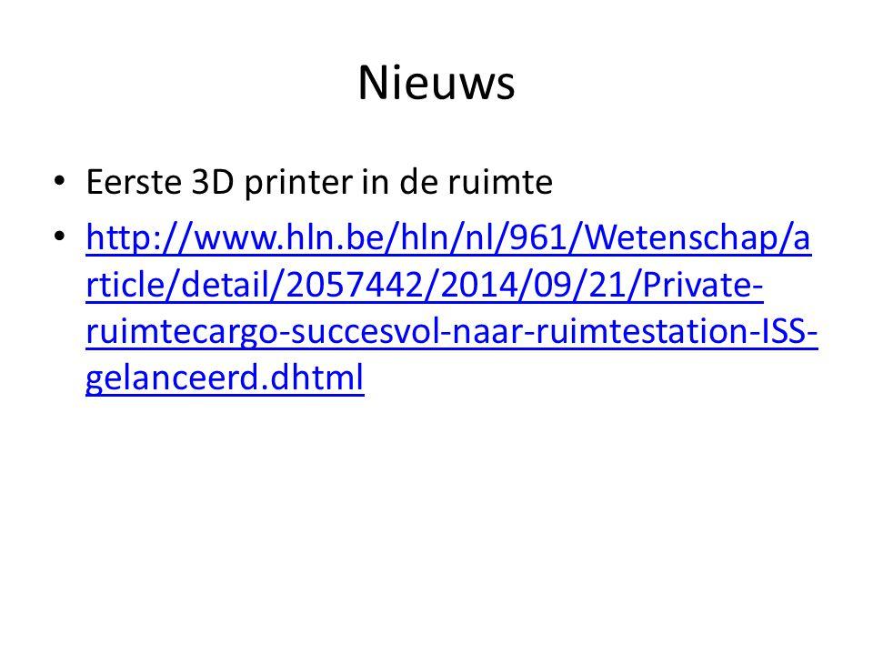 Nieuws Eerste 3D printer in de ruimte http://www.hln.be/hln/nl/961/Wetenschap/a rticle/detail/2057442/2014/09/21/Private- ruimtecargo-succesvol-naar-r
