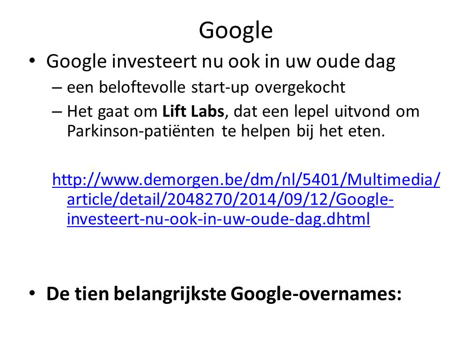 Google Google investeert nu ook in uw oude dag – een beloftevolle start-up overgekocht – Het gaat om Lift Labs, dat een lepel uitvond om Parkinson-patiënten te helpen bij het eten.