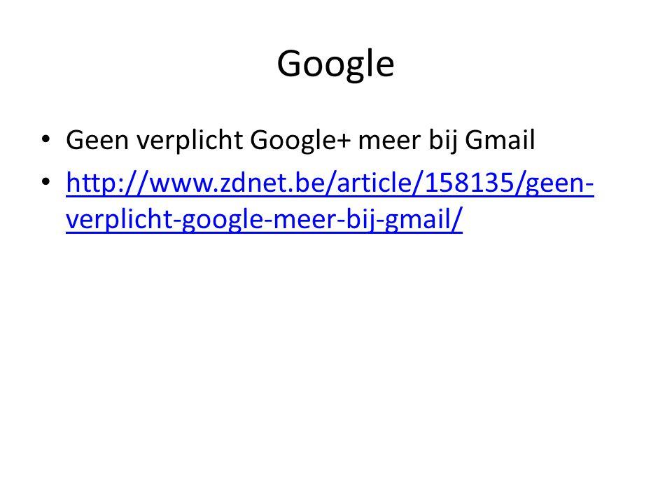 Google Geen verplicht Google+ meer bij Gmail http://www.zdnet.be/article/158135/geen- verplicht-google-meer-bij-gmail/ http://www.zdnet.be/article/158
