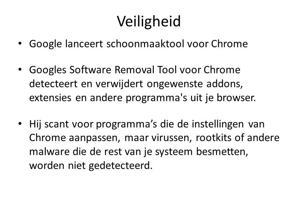 Veiligheid Google lanceert schoonmaaktool voor Chrome Googles Software Removal Tool voor Chrome detecteert en verwijdert ongewenste addons, extensies en andere programma s uit je browser.