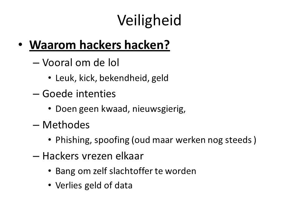 Veiligheid Waarom hackers hacken? – Vooral om de lol Leuk, kick, bekendheid, geld – Goede intenties Doen geen kwaad, nieuwsgierig, – Methodes Phishing