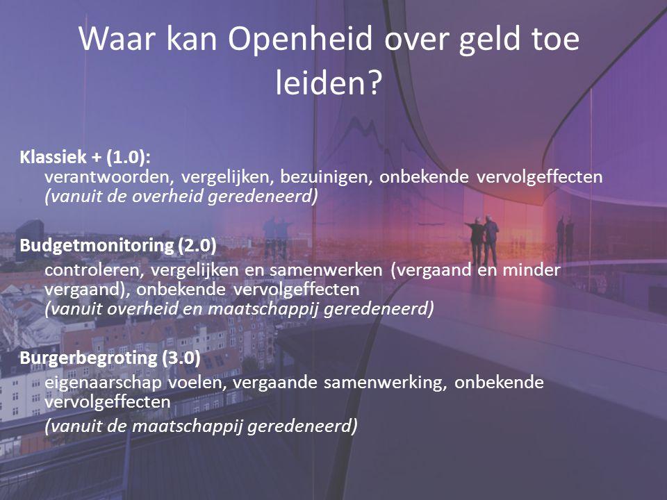 Waar kan Openheid over geld toe leiden? Klassiek + (1.0): verantwoorden, vergelijken, bezuinigen, onbekende vervolgeffecten (vanuit de overheid gerede