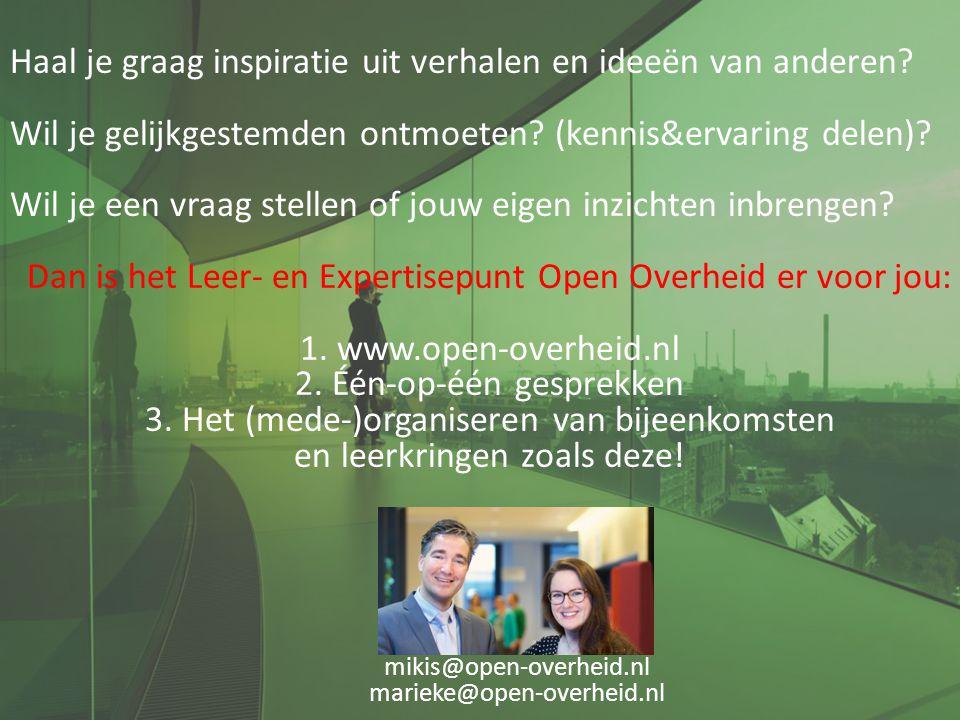 mikis@open-overheid.nl marieke@open-overheid.nl Haal je graag inspiratie uit verhalen en ideeën van anderen? Wil je gelijkgestemden ontmoeten? (kennis