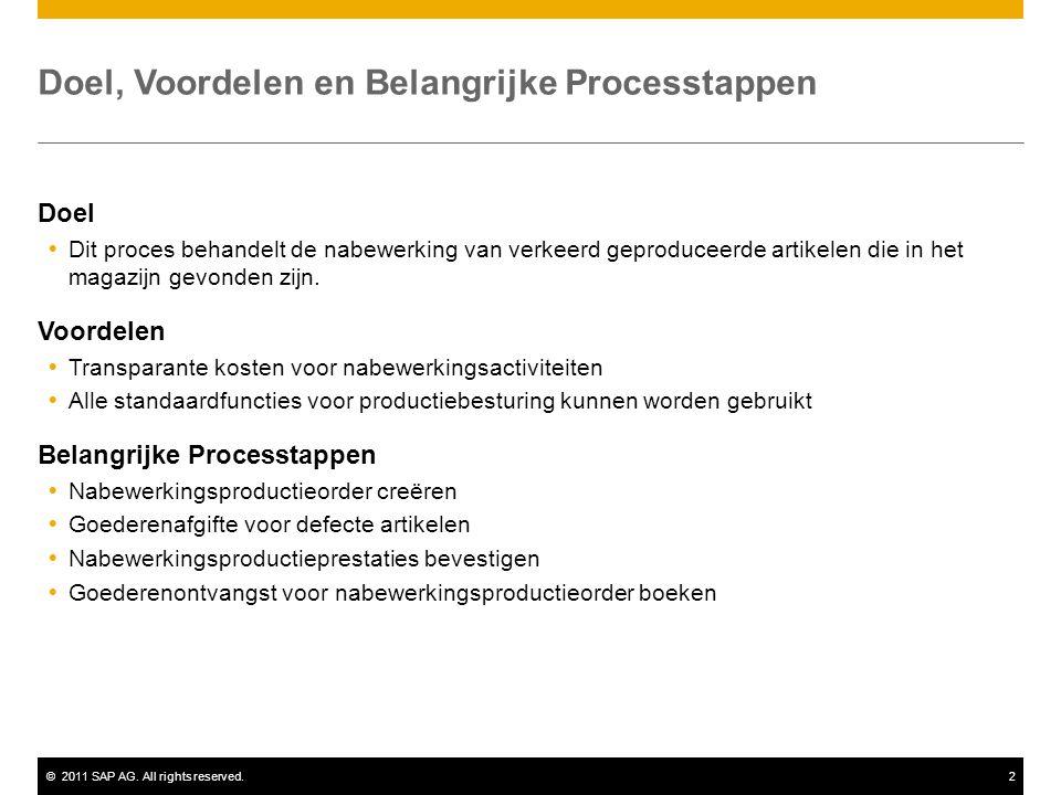 ©2011 SAP AG. All rights reserved.2 Doel, Voordelen en Belangrijke Processtappen Doel  Dit proces behandelt de nabewerking van verkeerd geproduceerde