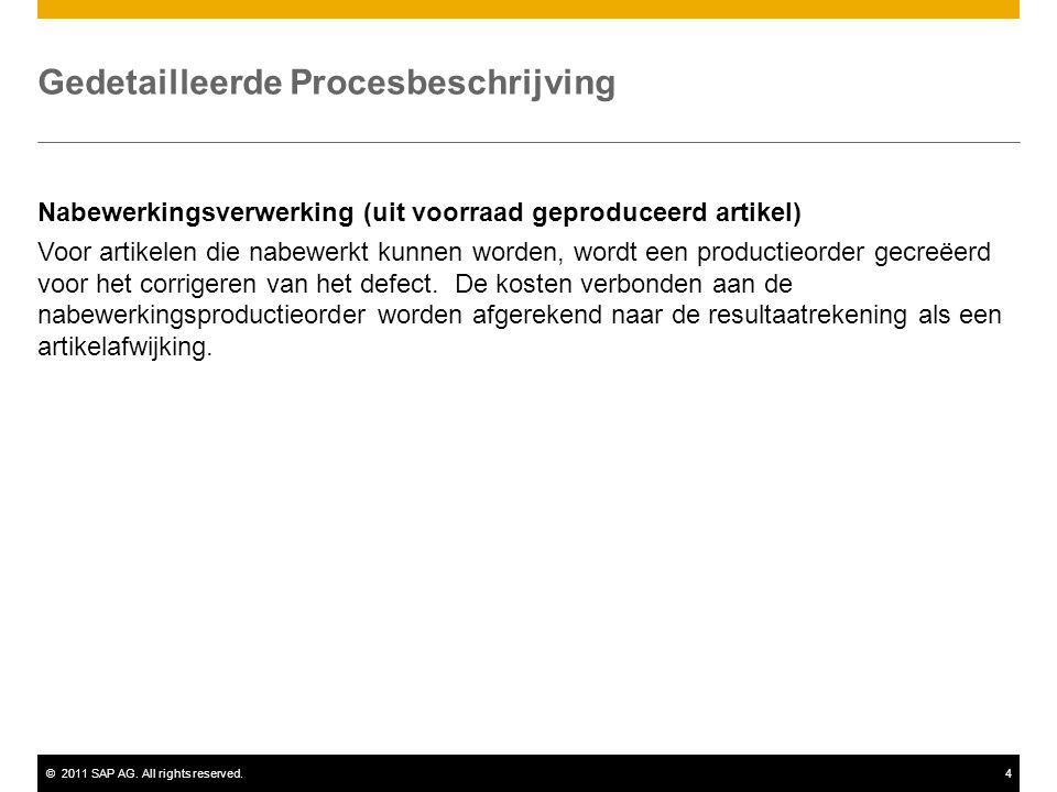 ©2011 SAP AG. All rights reserved.4 Gedetailleerde Procesbeschrijving Nabewerkingsverwerking (uit voorraad geproduceerd artikel) Voor artikelen die na