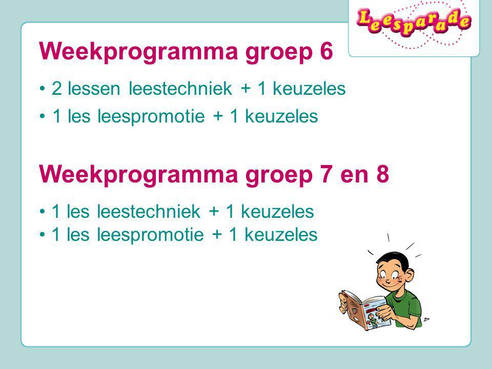 Weekprogramma groep 6 2 lessen leestechniek + 1 keuzeles 1 les leespromotie + 1 keuzeles Weekprogramma groep 7 en 8 1 les leestechniek + 1 keuzeles 1