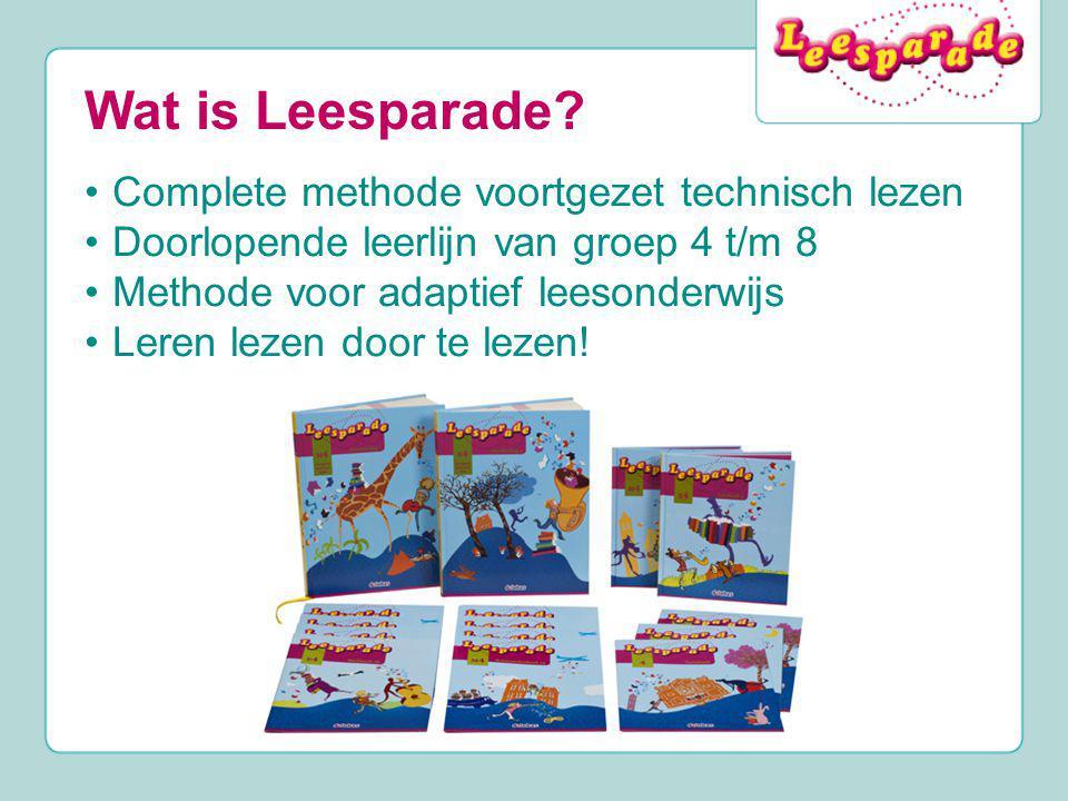 Wat is Leesparade? Complete methode voortgezet technisch lezen Doorlopende leerlijn van groep 4 t/m 8 Methode voor adaptief leesonderwijs Leren lezen