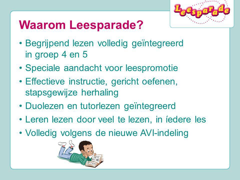 Waarom Leesparade? Begrijpend lezen volledig geïntegreerd in groep 4 en 5 Speciale aandacht voor leespromotie Effectieve instructie, gericht oefenen,