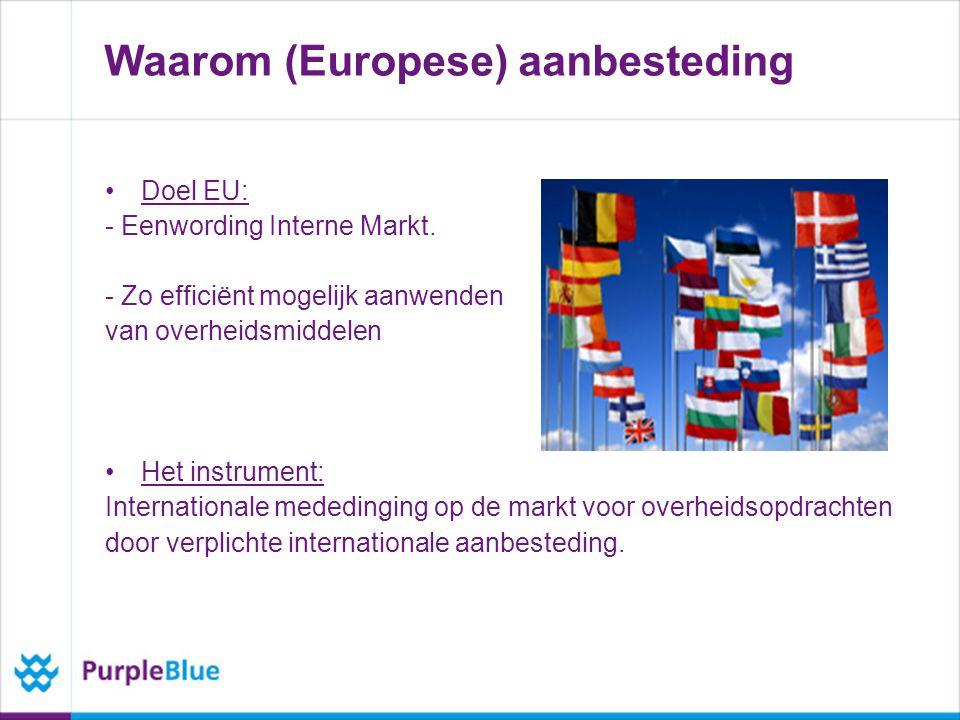 Waarom (Europese) aanbesteding Doel EU: - Eenwording Interne Markt.