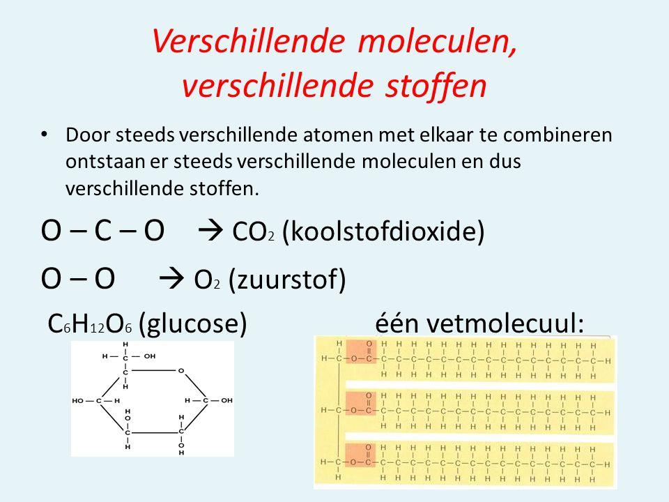 Verschillende moleculen, verschillende stoffen Door steeds verschillende atomen met elkaar te combineren ontstaan er steeds verschillende moleculen en dus verschillende stoffen.