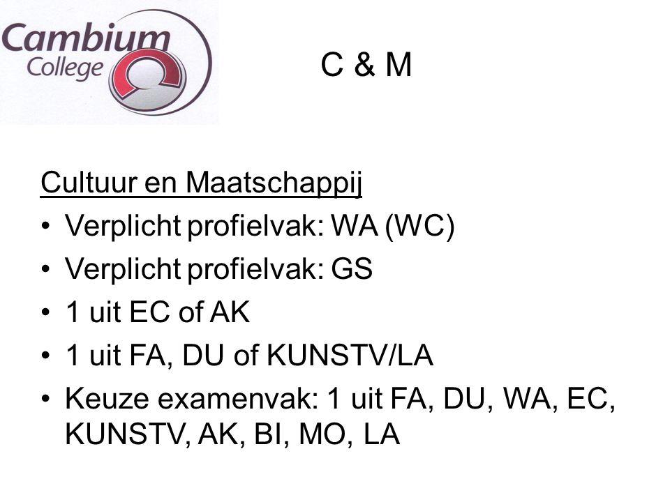 C & M Cultuur en Maatschappij Verplicht profielvak: WA (WC) Verplicht profielvak: GS 1 uit EC of AK 1 uit FA, DU of KUNSTV/LA Keuze examenvak: 1 uit F