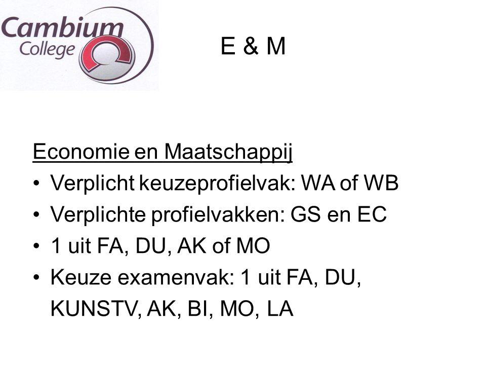 E & M Economie en Maatschappij Verplicht keuzeprofielvak: WA of WB Verplichte profielvakken: GS en EC 1 uit FA, DU, AK of MO Keuze examenvak: 1 uit FA