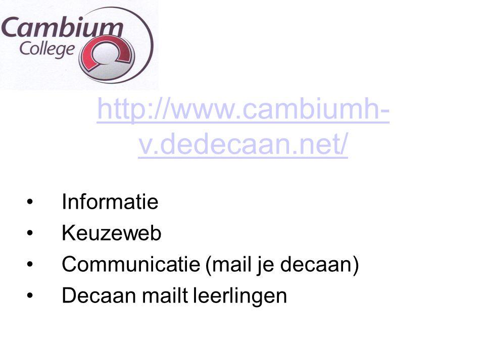 http://www.cambiumh- v.dedecaan.net/ Informatie Keuzeweb Communicatie (mail je decaan) Decaan mailt leerlingen