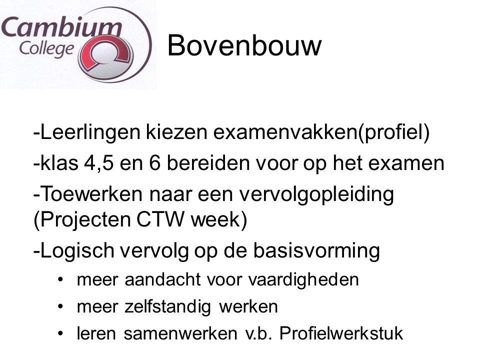 De T Bovenbouw -Leerlingen kiezen examenvakken(profiel) -klas 4,5 en 6 bereiden voor op het examen -Toewerken naar een vervolgopleiding (Projecten CTW