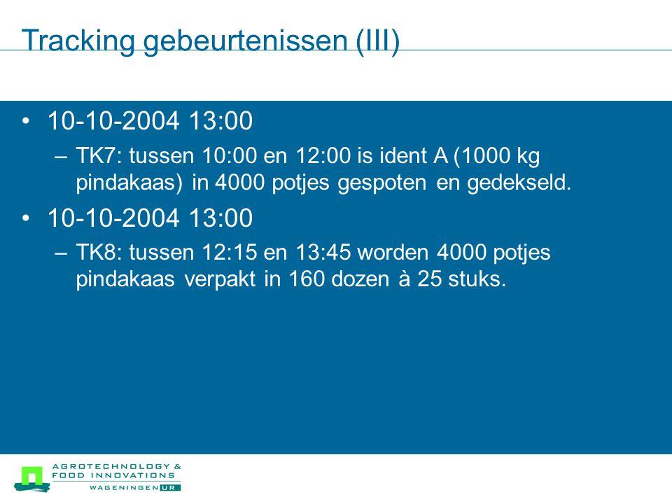 Tracking gebeurtenissen (III) 10-10-2004 13:00 –TK7: tussen 10:00 en 12:00 is ident A (1000 kg pindakaas) in 4000 potjes gespoten en gedekseld.