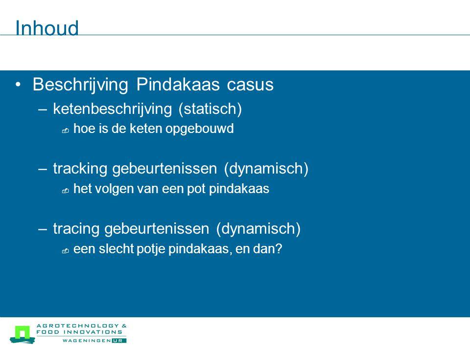 Inhoud Beschrijving Pindakaas casus –ketenbeschrijving (statisch)  hoe is de keten opgebouwd –tracking gebeurtenissen (dynamisch)  het volgen van een pot pindakaas –tracing gebeurtenissen (dynamisch)  een slecht potje pindakaas, en dan?