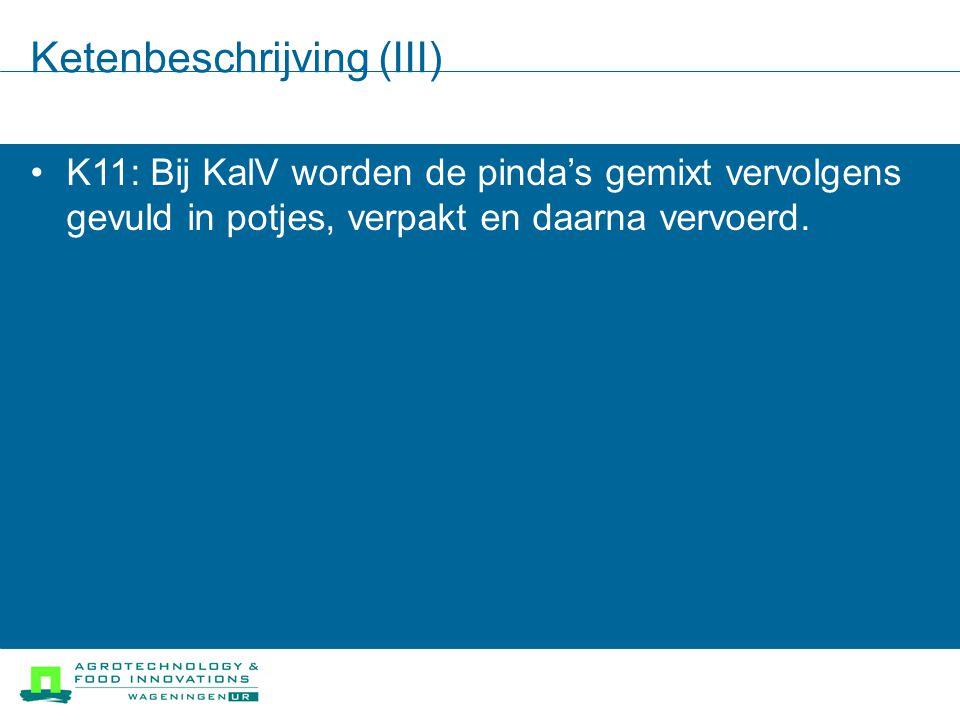 Ketenbeschrijving (III) K11: Bij KalV worden de pinda's gemixt vervolgens gevuld in potjes, verpakt en daarna vervoerd.