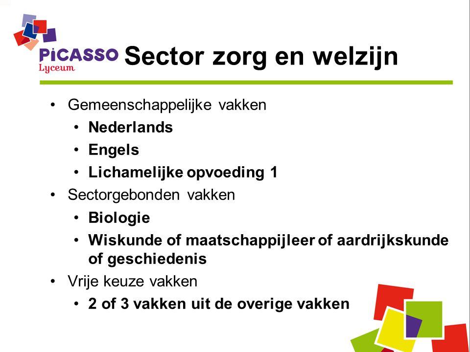Sector zorg en welzijn Gemeenschappelijke vakken Nederlands Engels Lichamelijke opvoeding 1 Sectorgebonden vakken Biologie Wiskunde of maatschappijleer of aardrijkskunde of geschiedenis Vrije keuze vakken 2 of 3 vakken uit de overige vakken