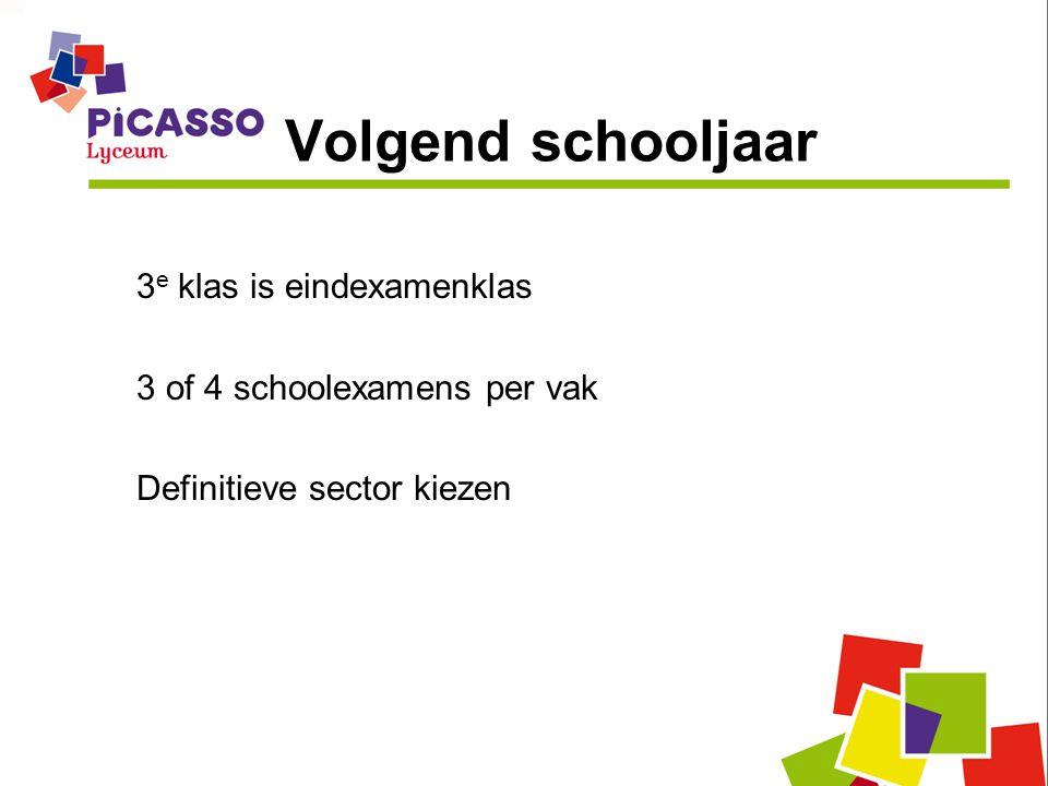 Volgend schooljaar 3 e klas is eindexamenklas 3 of 4 schoolexamens per vak Definitieve sector kiezen