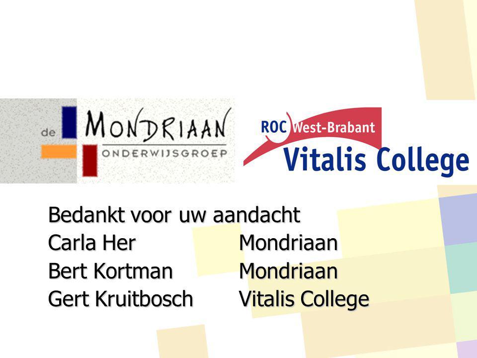 Bedankt voor uw aandacht Carla HerMondriaan Bert Kortman Mondriaan Gert KruitboschVitalis College