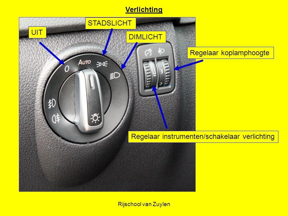 Rijschool van Zuylen UIT STADSLICHT DIMLICHT Regelaar koplamphoogte Regelaar instrumenten/schakelaar verlichting Verlichting