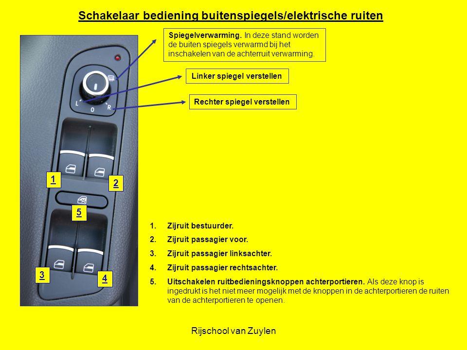 Rijschool van Zuylen 1 2 3 4 5 1.Zijruit bestuurder. 2.Zijruit passagier voor. 3.Zijruit passagier linksachter. 4.Zijruit passagier rechtsachter. 5.Ui