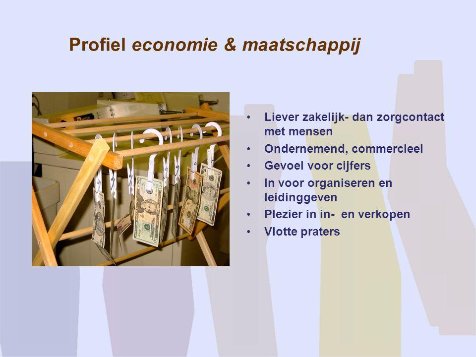 Profiel economie & maatschappij Liever zakelijk- dan zorgcontact met mensen Ondernemend, commercieel Gevoel voor cijfers In voor organiseren en leidin