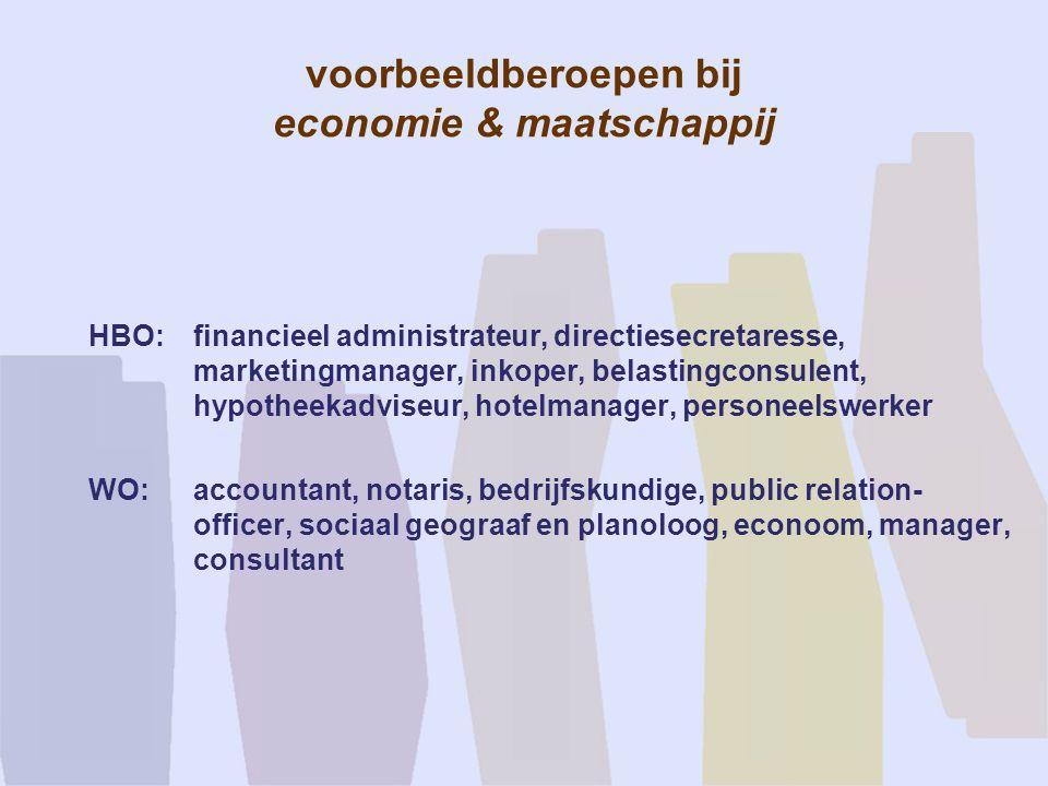 voorbeeldberoepen bij economie & maatschappij HBO:financieel administrateur, directiesecretaresse, marketingmanager, inkoper, belastingconsulent, hypo