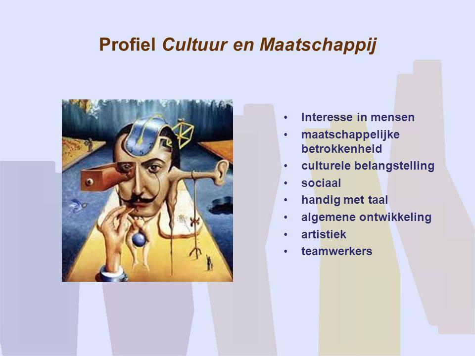 Profiel Cultuur en Maatschappij Interesse in mensen maatschappelijke betrokkenheid culturele belangstelling sociaal handig met taal algemene ontwikkel