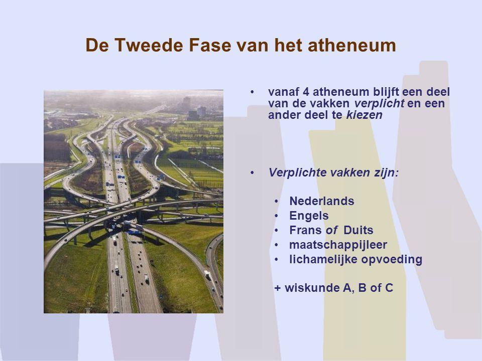 De Tweede Fase van het atheneum vanaf 4 atheneum blijft een deel van de vakken verplicht en een ander deel te kiezen Verplichte vakken zijn: Nederland