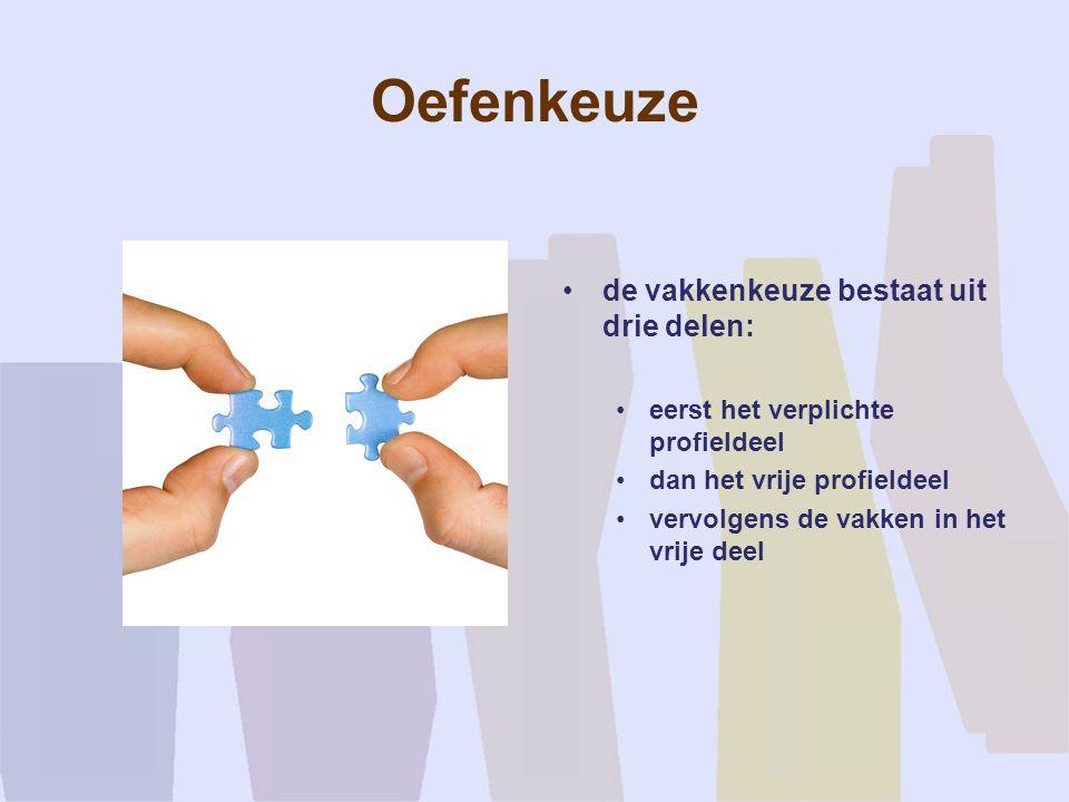 Oefenkeuze de vakkenkeuze bestaat uit drie delen: eerst het verplichte profieldeel dan het vrije profieldeel vervolgens de vakken in het vrije deel