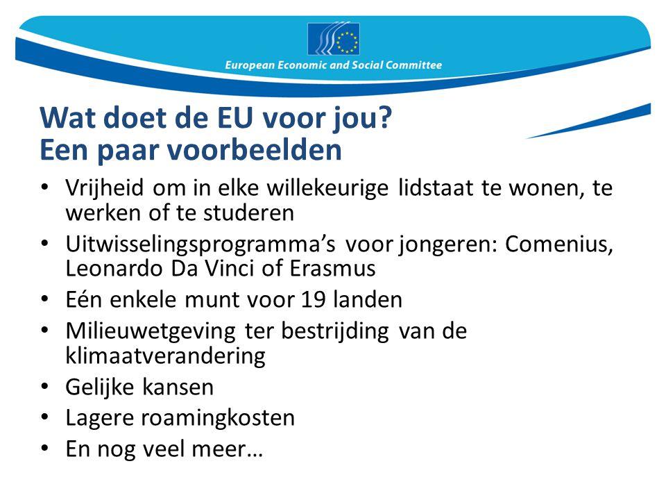 Wat doet de EU voor jou? Een paar voorbeelden Vrijheid om in elke willekeurige lidstaat te wonen, te werken of te studeren Uitwisselingsprogramma's vo