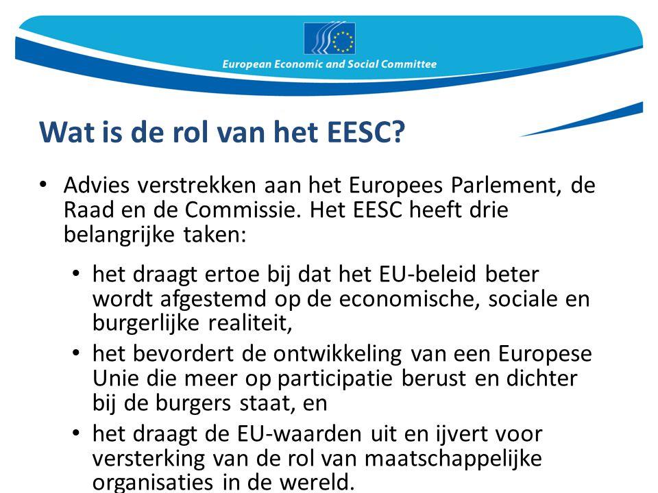 Wat is de rol van het EESC? Advies verstrekken aan het Europees Parlement, de Raad en de Commissie. Het EESC heeft drie belangrijke taken: het draagt