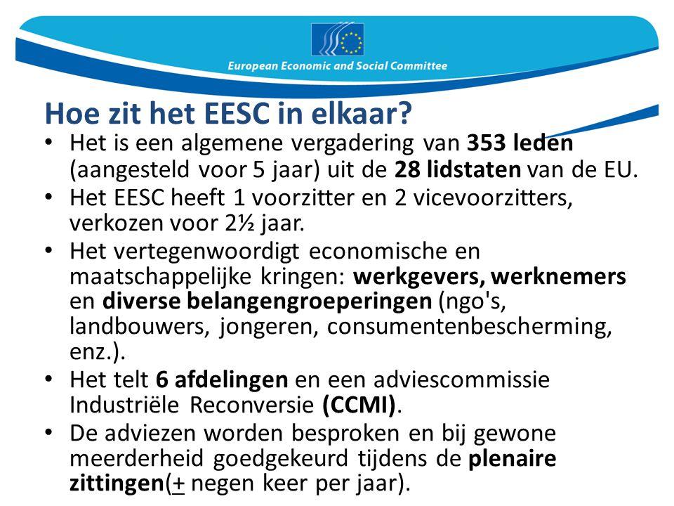 Hoe zit het EESC in elkaar? Het is een algemene vergadering van 353 leden (aangesteld voor 5 jaar) uit de 28 lidstaten van de EU. Het EESC heeft 1 voo