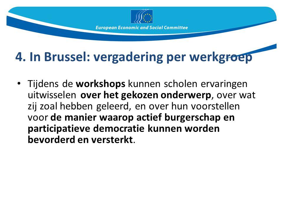 4. In Brussel: vergadering per werkgroep Tijdens de workshops kunnen scholen ervaringen uitwisselen over het gekozen onderwerp, over wat zij zoal hebb