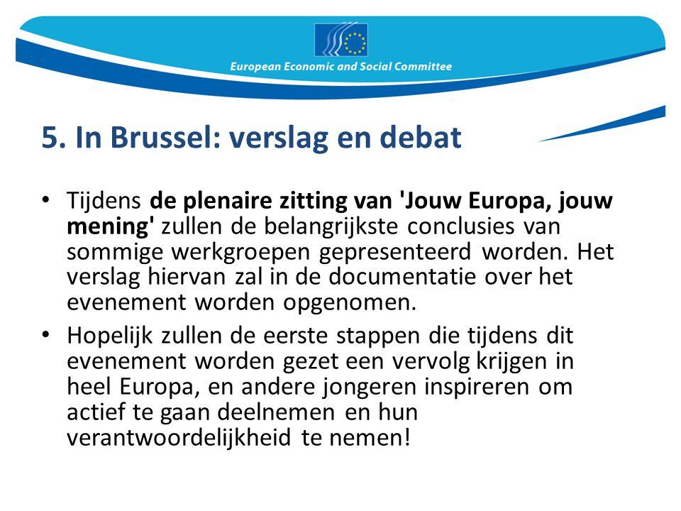 5. In Brussel: verslag en debat Tijdens de plenaire zitting van 'Jouw Europa, jouw mening' zullen de belangrijkste conclusies van sommige werkgroepen