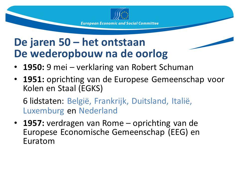 De jaren 50 – het ontstaan De wederopbouw na de oorlog 1950: 9 mei – verklaring van Robert Schuman 1951: oprichting van de Europese Gemeenschap voor K
