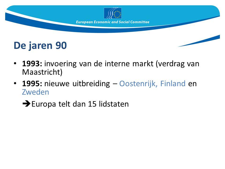De jaren 90 1993: invoering van de interne markt (verdrag van Maastricht) 1995: nieuwe uitbreiding – Oostenrijk, Finland en Zweden  Europa telt dan 1