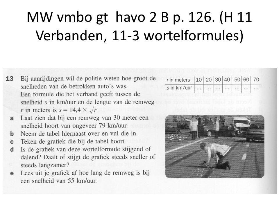 MW vmbo gt havo 2 B p. 126. (H 11 Verbanden, 11-3 wortelformules)